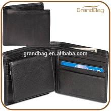 Bifold genuine leather mens wallet, RFID blocking leather wallet for men