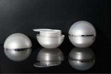 Pearl White Ball Shape Plastic Cosmetic Containers