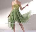 غير متناظرة تنورة امبراطورية حبيبته تصميم فستان السهرة يزين، الجير الاخضر الذهبي مساء اللباس التسوق عبر الإنترنت