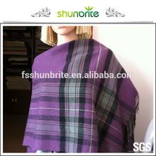 100% wool 100% acrylic 100% polyester fringed throw wool blanket