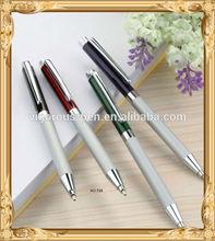 white metal ball pen