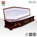 XH-23 White Velvet & Pine Veneer Wooden Funeral Box