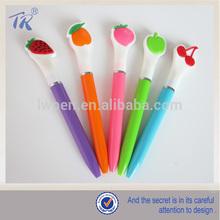 School Supply Cheap Plastic Fruits Figure Cartoon Cap Kids Pen