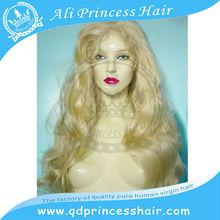 Factory price nice looking beautiful wavy long blonde human hair wig