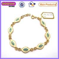 Newest design golden blue Greek evil eye bracelet #31135
