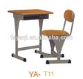 Comercial de madeira preço barato ajustável mesa da escola e cadeira ya-t11