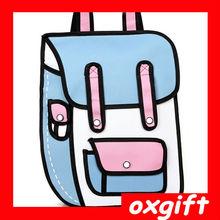 OXGIFT 2014 new style 3D 2D vintage canvas bag Comic 3D Messenger Bag Blue