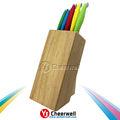 No- stickcolor de recubrimiento cuchillo de cocina conjunto con el bloque de madera/titular