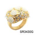 de ancho de banda allanar joyería del diamante anillo de oro de diseño
