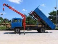 DFAC dump truck with crane 8 tons telescopic boom truck mounted crane