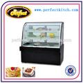 De lujo de un solo arco pastel de refrigerador vitrina con negro base mable cc-1800