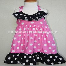 2014 New Design Children Sleeveless Polka Dots Ruffle Long Frocks Fashion Baby Girls Puffy Dresses For Kids
