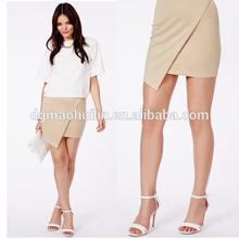 Woman Wrap Over Asymmetric Taupe Mini Wrap Skirts
