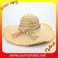 Mode 100% bast häkeln stroh breiter krempe sommer hüte für damen