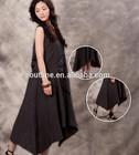 2014 high quality high/low 100 cotton large size black ladies jumper dress