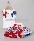 Stylish Casual Kids Summer Sleeveless Blank T-shirt Matching Colorful Pettiskirt Cute Cheap Plus Size Clothing Sets
