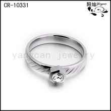 Popular ring jewelry stainless steel wedding bands with zircon