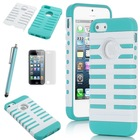 Fashion Sweety TPU + PC 2-Piece Style Hard Case Cover for iPhone 5S 5 5G + Screen Protector + Stylus