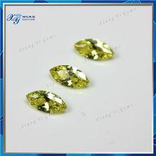 China Alibaba Gems Supplier 4x8mm olive yellow marquise shape cz cubic zirconia rough gem cutting/ glass gems