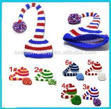 OEM Custom long tail christmas knitted crochet baby hat