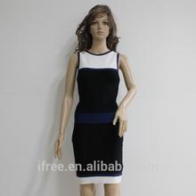 White beam wasit packet buttock dress O neck bandage fabric for dress
