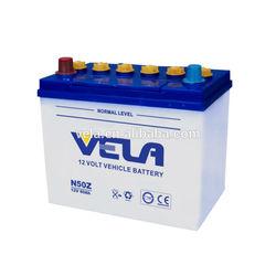 Vela Dry Charge Car Battery N50Z 55D26R 12v60ah JIS60 auto battery car battery prices