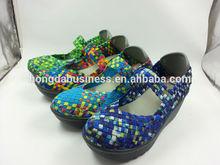 2014 fashion lady wedges woven elastic shoes woman shoe
