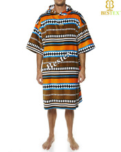 Cotton Surf Custom printed Hooded adult towelling men's poncho