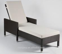 2014 Modern outdoor recliner lounger chair brown rattan sun loungers