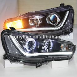 2008-2013 Year Mitsubishi Lancer Exceed LED Headlights Angel Eyes Bi Xenon Projector Lens YZV5