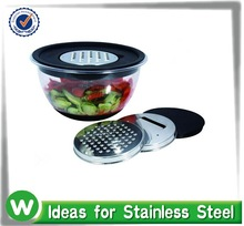 2 PCS plastic mixing Bowl non-skid with Lid and grater & 3 dics