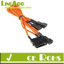 linkacc js-5 BitFenix Molex to 3 x 3Pin Fan Adapter 7V 20cm Sleeved Orange