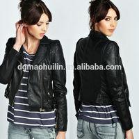 fashion factory price ladies jacket women clothing pu/polyester leather jacket