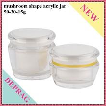 50g mushroom shape Acrylic empty jar, 30g cosmetics cream container, 15g bottles