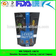 Stand up dog treat bag/custom coloful printed zip lock pet food bag