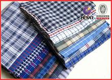 check men's polyester italian egyptian cotton shirting fabric