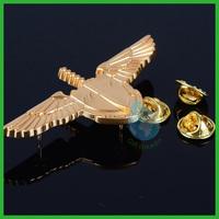 2014 3D wings & sword blank badge pin/new 2014 gold plate metal wings lapel pin