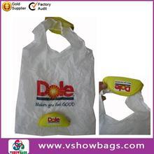 Cheapest price custom 210D polyester folding shopping bag; fruits foldable shopping bag