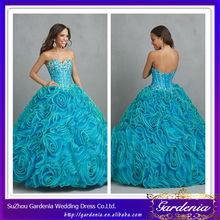Designers 2014 New Models Ball Gown Sweetheart Neck Rose Flowered Skirt Blue Fuchsia Quinceanera Dresses (ZX272)