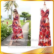 Vestidos de hawai para las mujeres 2014 de verano casual sin tirantes fuera del hombro del tobillo- longitud de la playa de cuello halter vestido de noche los patrones