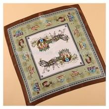 53x53cm 100 silk hand printed elegant horse scarf