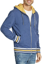 2015 high quality mens french terry wholesale zipper pocket hoodies for mens with stripe ribs hoodies
