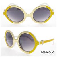 Most popular retro sunglasses round half white half yelllow