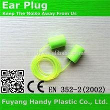 Cylindrical pu foam earplugs with cord