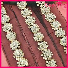 fashion decorative rhinestone and pearl lace trim lace fabric WTP-1202