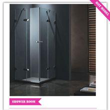 HS-SR842 new design square double glass door frameless shower enclosure