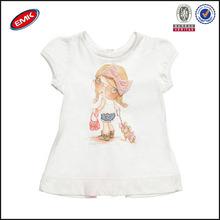 Carino vestiti per bambini a basso prezzo con orlo in pizzo sul retro, t- shirt per bambine