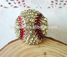 yiwu fashion jewelry rhodium alloy crystal enamel adjustable baseball rings