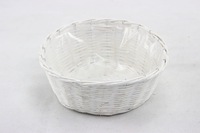 white wicker pot for garden and roof green planting with plastic lining