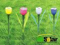 Lumière en plastique jusqu'à fleurs artificielles pour la décoration de jardin solaire ib-gl-015